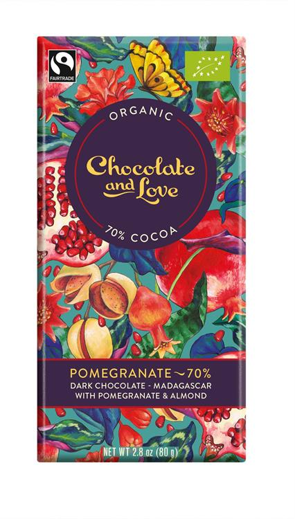 Chocolate & Love Ekologisk Pomegranate70 % 80 g